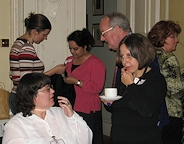 KHF members enjoying a break for discussion at the Knitting History Conference in 2007! Photo by Loraine McClean