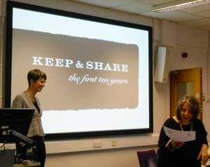 KHF Chair, Prof Sandy Black, introduces speaker Dr Amy Twigger Holroyd, at the 2014 Knitting History Conference