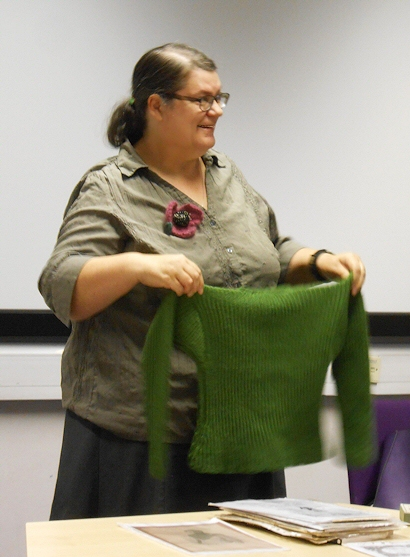 Joyce Meader With Her Reproduction Crimea War Jumper, Presentation At The Knitting History Forum Conference 2014. Photo By I N Eliatamby