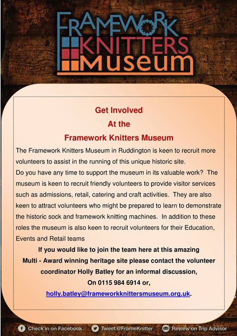 Framework Knitters Museum Volunteers Flyer