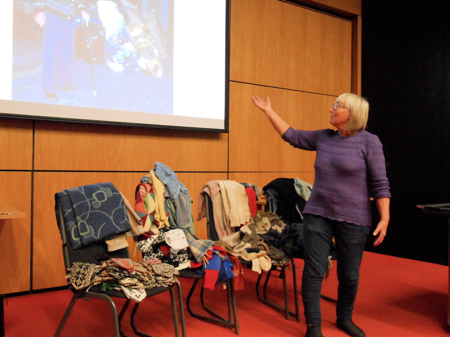 Annemor Sundbø presents her collection of rescued knitting at KHF AGM & Conference 2018