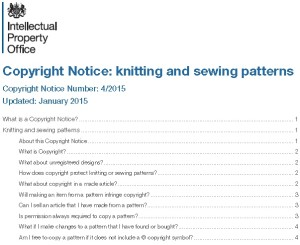 UK Copyright Guidelines for Knitting Patterns