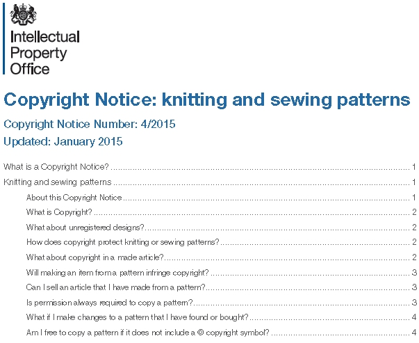 UK Copyright Notice : Knitting and Sewing Patterns