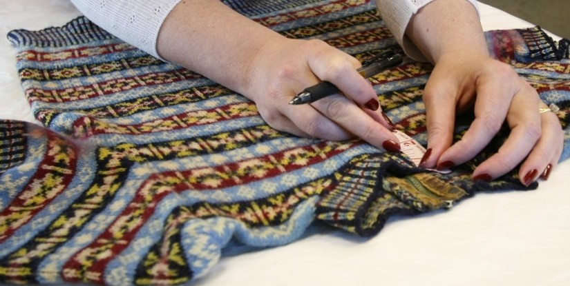 Vintage Shetland Project - measuring original garments at the Shetland Museum
