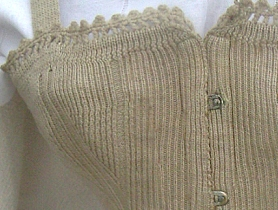 Detail of a late nineteenth century knitted corset. Collection of Kirstie Buckland. Please do not use image without permission!