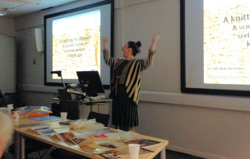 Jane Malcolm-Davies presents a paper at the Knitting History Forum Conference in November 2015