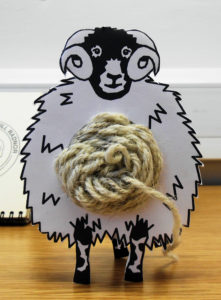 An innovative representation of Swaledale sheep and wool by Zoe Fletcher at the Knitting History Forum Conference in November 2015