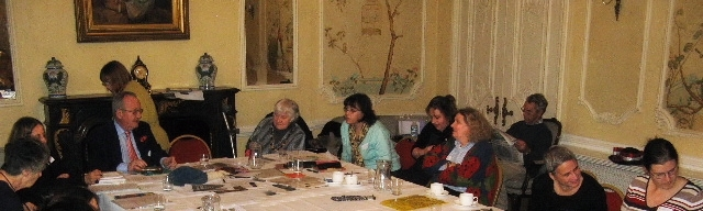 Refreshments and conversation at the Knitting History Conference in 2007. Photo by Loraine McClean