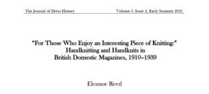 Handknitting and Handknits in British Domestic Magazines, 1910–1939