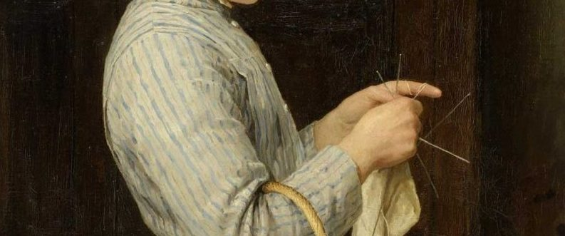 Detail of knitting in Albert Anker 'Strickendes Mädchen' 1888
