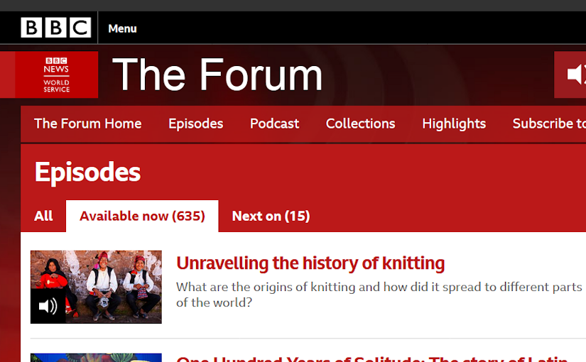 BBC World Service Radio Programme Unravelling The History of Knitting Header