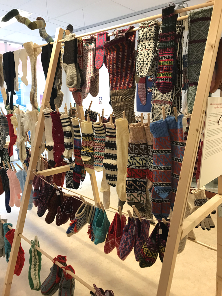 Knitting History Forum TRC Leiden Conference 2019 – More knitted footwear from the exhibition at the TRC, visited on Sunday 3rd November – image 2019 by Christine Carnie