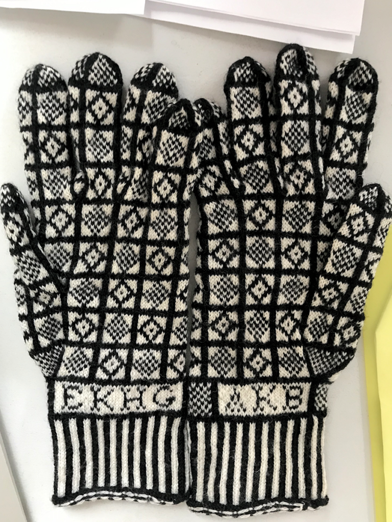 Knitting History Forum TRC Leiden Conference 2019 – The KHF (then EKHG) Sanquhar gloves donated by Kirstie Buckland, see notes in 2019 AGM minutes and subsequent post on website – image 2019 by Christine Carnie