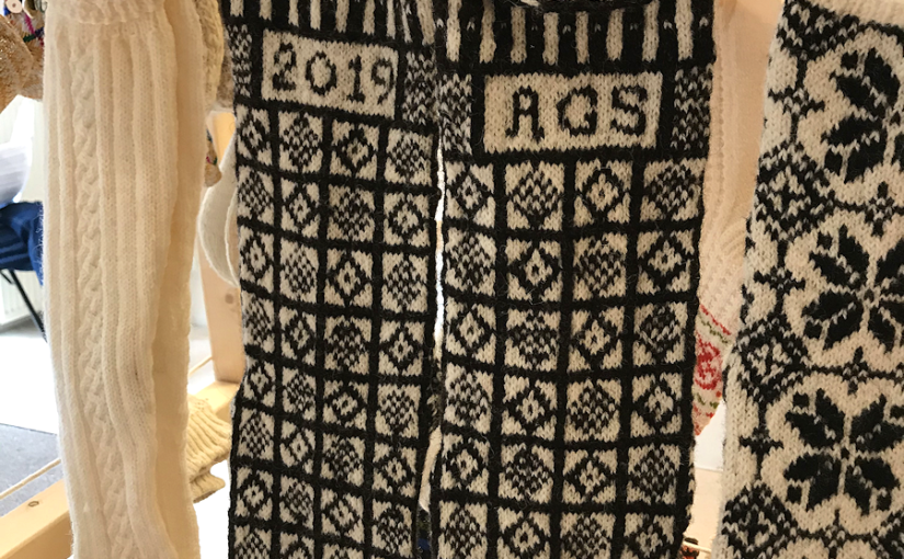 Knitting History Forum TRC Leiden Conference 2019 – By pure chance I happened upon a similar pattern pair of Sanquhar knitted socks in the TRC exhibition, see notes in 2019 AGM minutes and subsequent post on website – image 2019 by Christine Carnie