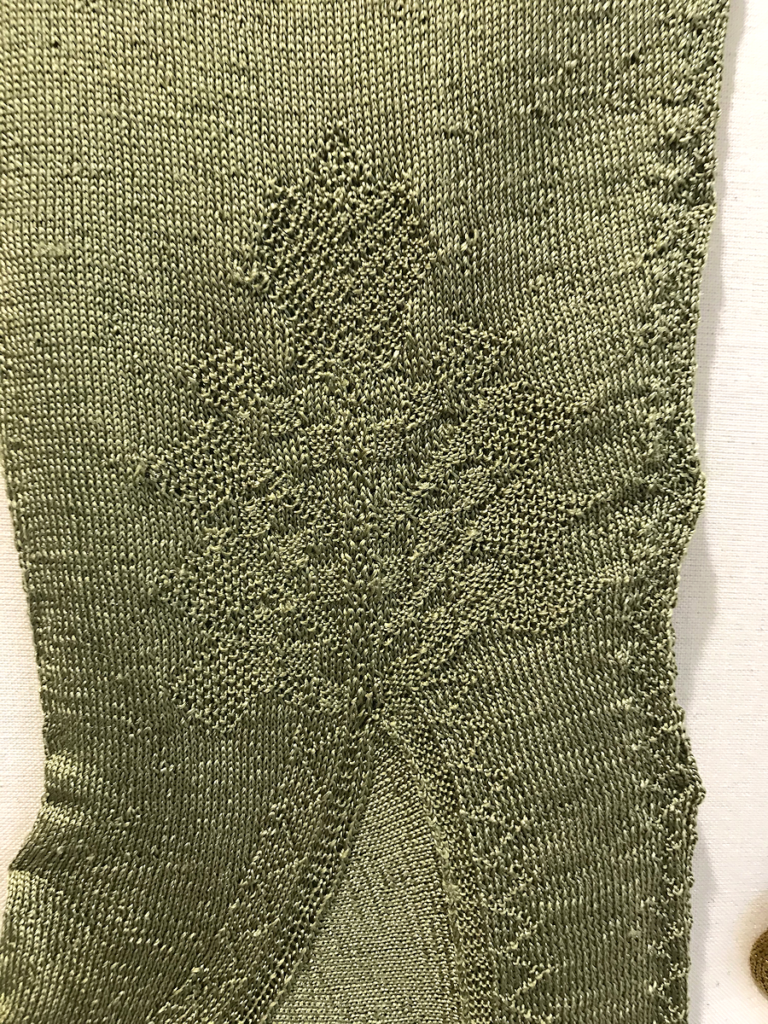 Knitting History Forum TRC Leiden Conference 2019 – Clock or knitted decorative pattern on the original seventeenth century Texel silk stockings, exhibition at the TRC, visited on Sunday 3rd November – image 2019 by Christine Carnie
