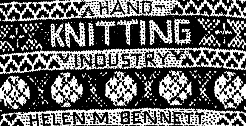 "Detail from the cover of Helen Bennett's 1981 doctoral thesis ""The origins and development of the Scottish hand-knitting industry"", University of Edinburgh. Copyright Dr Helen M Bennett."